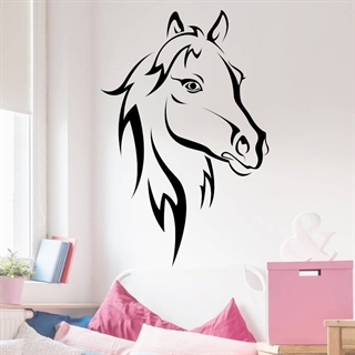 wallstickers med et stort hestehoved i sort